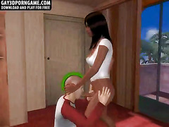 A hot stud with a green mohawk is getting fucked in his ass by an ebony big cock shemale