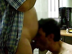 The daddy is horny and he asks his houseboy into the kitchen so he can get off. The boy suck...