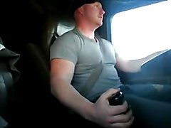 Drops his jeans while at the wheel and this straight chubby trucker strokes a load and licks...