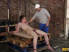 A couple of the lads tied Leo to the pallets and left him there naked for Deacon to play wit...