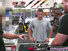 Hot guy strips in pawn shop and sucks two mens cocks. This is really an odd threesome with o...