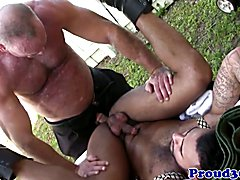 Mature Mickey Collins rimming Rikk Yorks ass before jerking and cumming