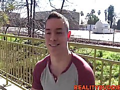 Sexy straight dude Aiden picked up and taken to hotel room for a chat, then he gets paid to ...