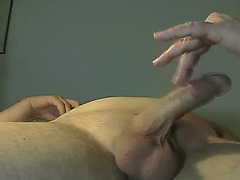 The horny grandpa uses his mouth and hand to make the cock feel good. He pleasures the balls...