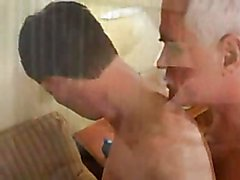 The horny grandpa kisses his lover boy and thrusts his big cock into that ass all over the h...