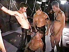 The dungeon is big with lots of devices and masters to use this hot gay bottom. He gets fuck...