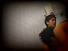 The boys are captured in a voyeur style video having hot, passionate sex in the public bathr...