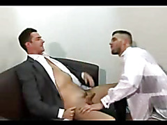 The man in the suit is here to audition for the gay porn producers and you'll see that he pa...