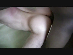 The white guy is horny and slutty and he sucks the big black cock before he climbs aboard an...