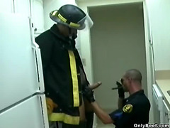 A beefy fire fighter pulls out his junk and gets a sloppy blowjob.