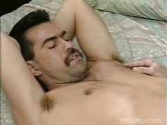 Hot and horny hunks rent out a hotel room and get nude to swap sloppy oral sex.