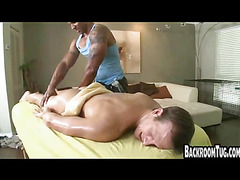 Hot interracial guys handjob