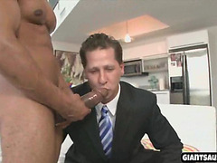 a handsome muscular stud with big cock gets blowjob