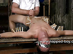 Blindfolded Aiden Jason gets a handjob
