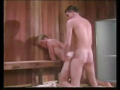 In the warm sauna we find young gay men sucking cock