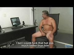 Chubby daddy masturbates cock