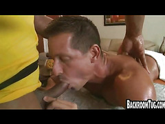 Interracial muscle blowjob and massage rubdown