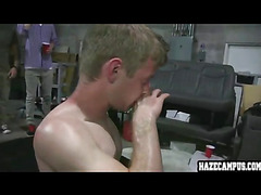 Straight guy forced blowjob, wrestling, and cummed on