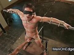 Gay in bondage positions balls slapped