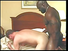 The interracial blowjob video opens with a black stud