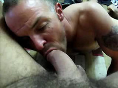 Bear sucks hot cock in POV