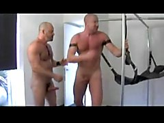 The hot leather dudes in the sex swing rim asshole,