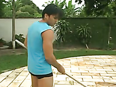 Sexy young gay latinos fuck ass passionately in the backyard