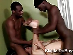 Ass stretched twink Nate Richards gets all jizzed by 2 hunky black thugs in this interracial...