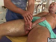 Muscle stud blowjob and handjob at gay massage