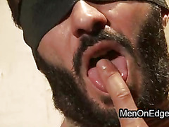 Hairy French stud Wilfried Knight bound to a pillar and