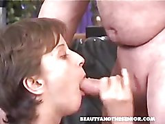 short hair drink cum from old men