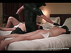Sinfully gay slaves wearing leather masks gets asses
