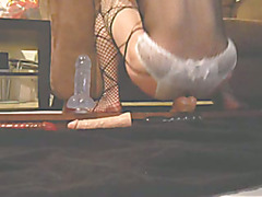 Sexy Crossdresser Fucks Her 2 Dildos Hard!