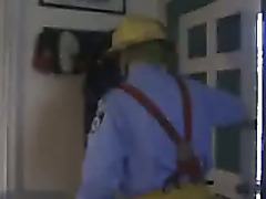 Bear Firefighter plays with his cock