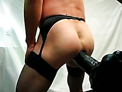 Guy have nice ride on ernormous dildo (360x80mm)