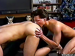 This gay sex video begins with some great ass licking. After this hunk is done, he bends over and ta