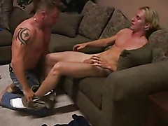 This mature hunk loves twinks. Watch as they swap sloppy wet blowjobs.