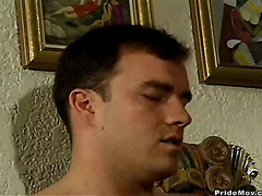 Wow, this stud has a huge cock that his parnter jams down his throat.
