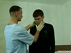 Horny doctor is checking twinks smoking hot body thoroughly.