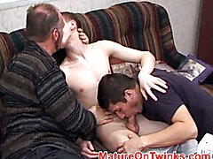 Twink likes the ass licking with aged dude