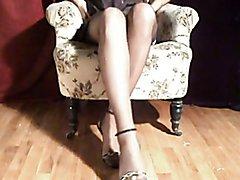 crossdresser in pantyhose and stockings enjoys the