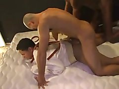slave gets fucked hard by two bbc