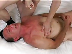 Mature dude gets his face covered with cum
