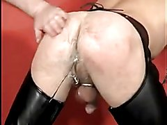 Hot vearded Bear Daddy and his leather boy - spanking, sucking, dad-son action in leather!