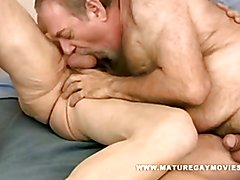Chubby and very hairy daddy goes to work on his mature friends ass!