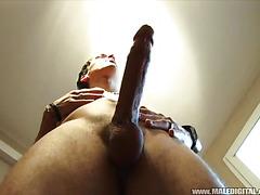 He masturbates a stiff cock