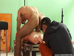 The hot and hunky gay guy does a shoot where he screws a blow up doll in the ass. He really ...