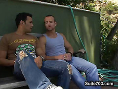 Hunks gay kissing outdoors