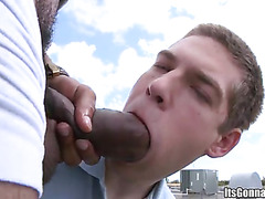 Sucking black cock outdoors
