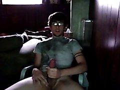 hot nerd cumming in his chair